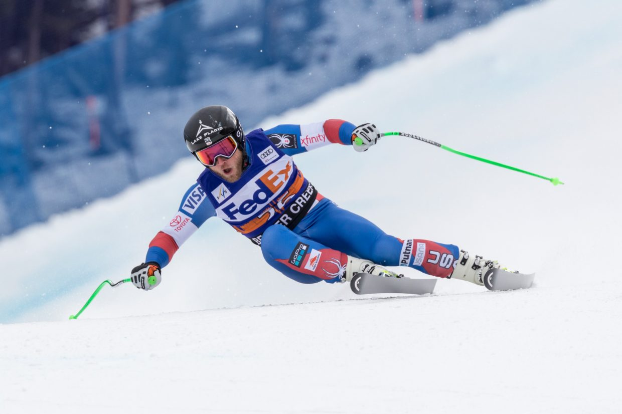 Andrew Weibrecht, of the United States, comes in wide to the Harrier section of the Birds of Prey Super G Friday in Beaver Creek.