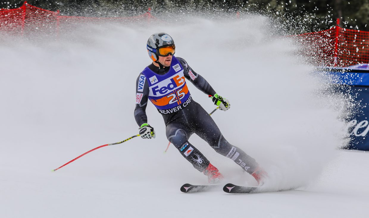 Thomas Bresemeyer of the United States finishes his Super-G run for Birds of Prey on Friday, Dec. 1, in Beaver Creek.