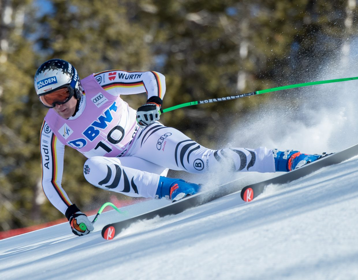 Germany's Thomas Dressen holds his line at the top of  the Brink during the Birds of Prey Downhill race Saturday at Beaver Creek.  Dressen took  thrid place behind Aksel Svindal and Beat Feuz.