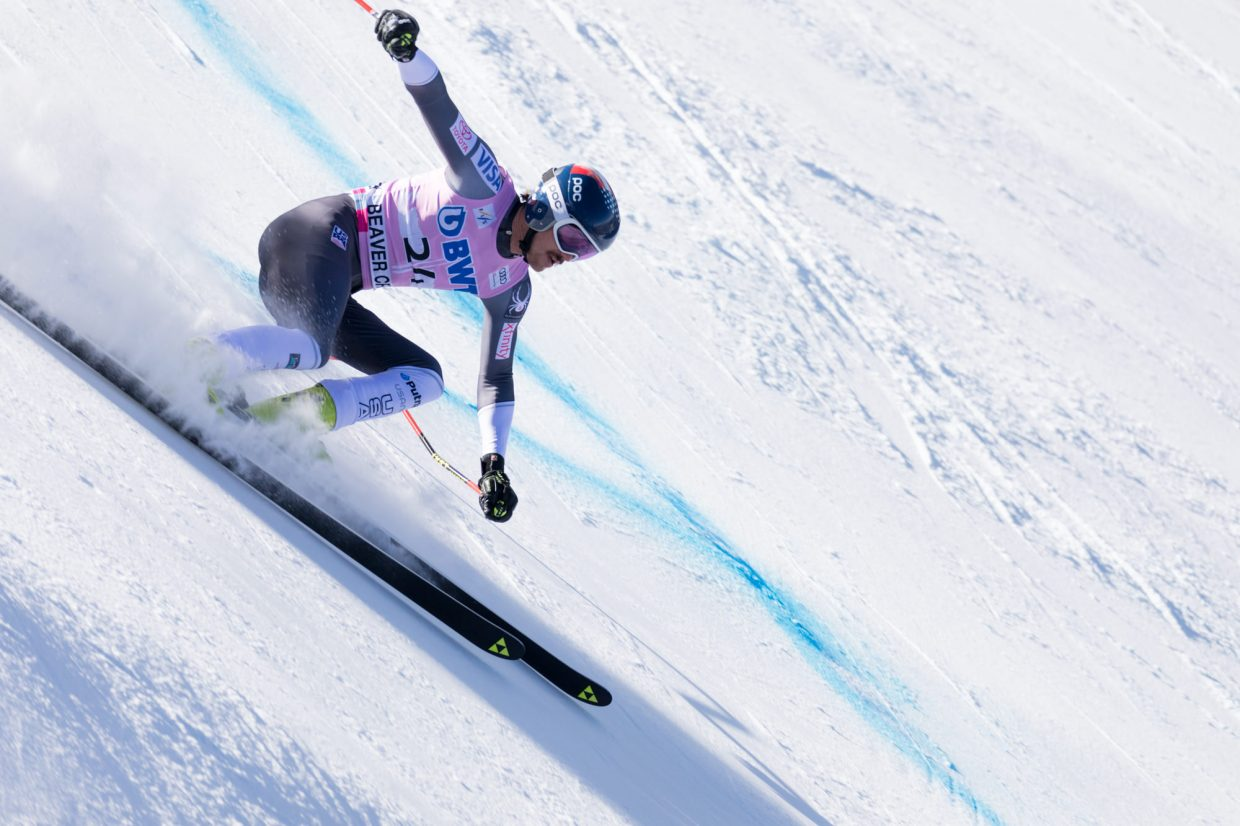 Bryce Bennett, of the United States, flies down the Birds of Prey World Cup Downhill course Saturday in Beaver Creek.