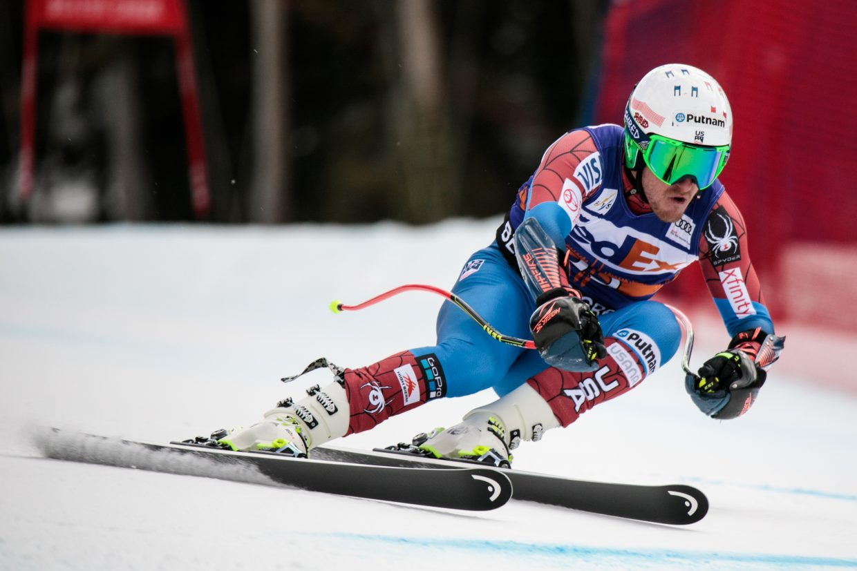Ted Ligety, of USA, makes his turns before missing a gate during the Super-G race for the Birds of Prey World Cup on Friday, Dec. 1, in Beaver Creek.