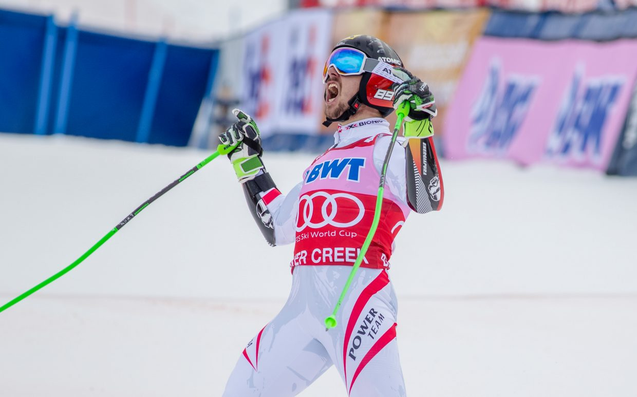 Marcel Hirscher, of Austria, celebrates after his winning Giant Slalom run during Birds of Prey World Cup on Sunday, Dec. 3, in Beaver Creek. Hirscher took the title for the GS.