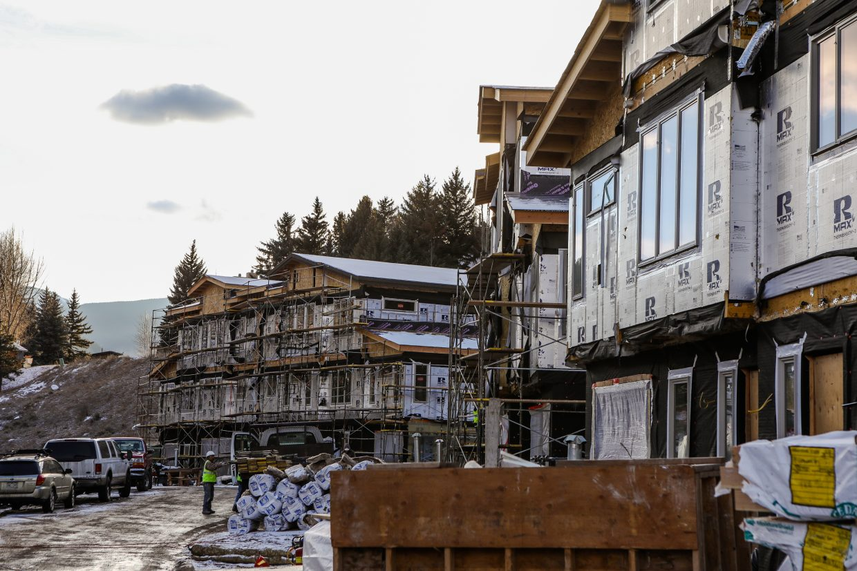 Construction moves along on the Chamonix Vail townhomes on Thursday, Dec. 14, in West Vail. The first completed units will allow people to move in sometime in January.