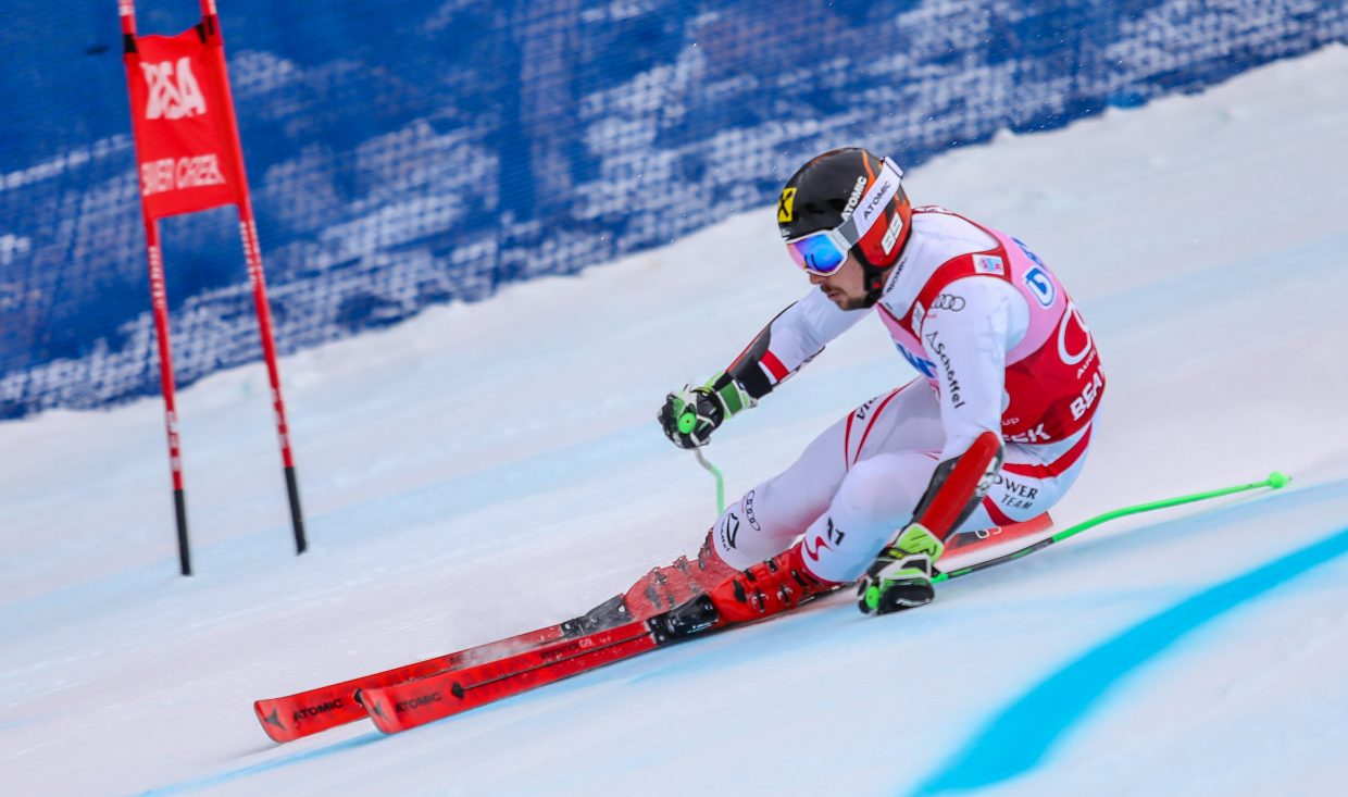 Marcel Hirscher, of Austria, flies down the Giant Slalom course for Birds of Prey World Cup on Sunday, Dec. 3, in Beaver Creek. Hirscher took the title for the GS.