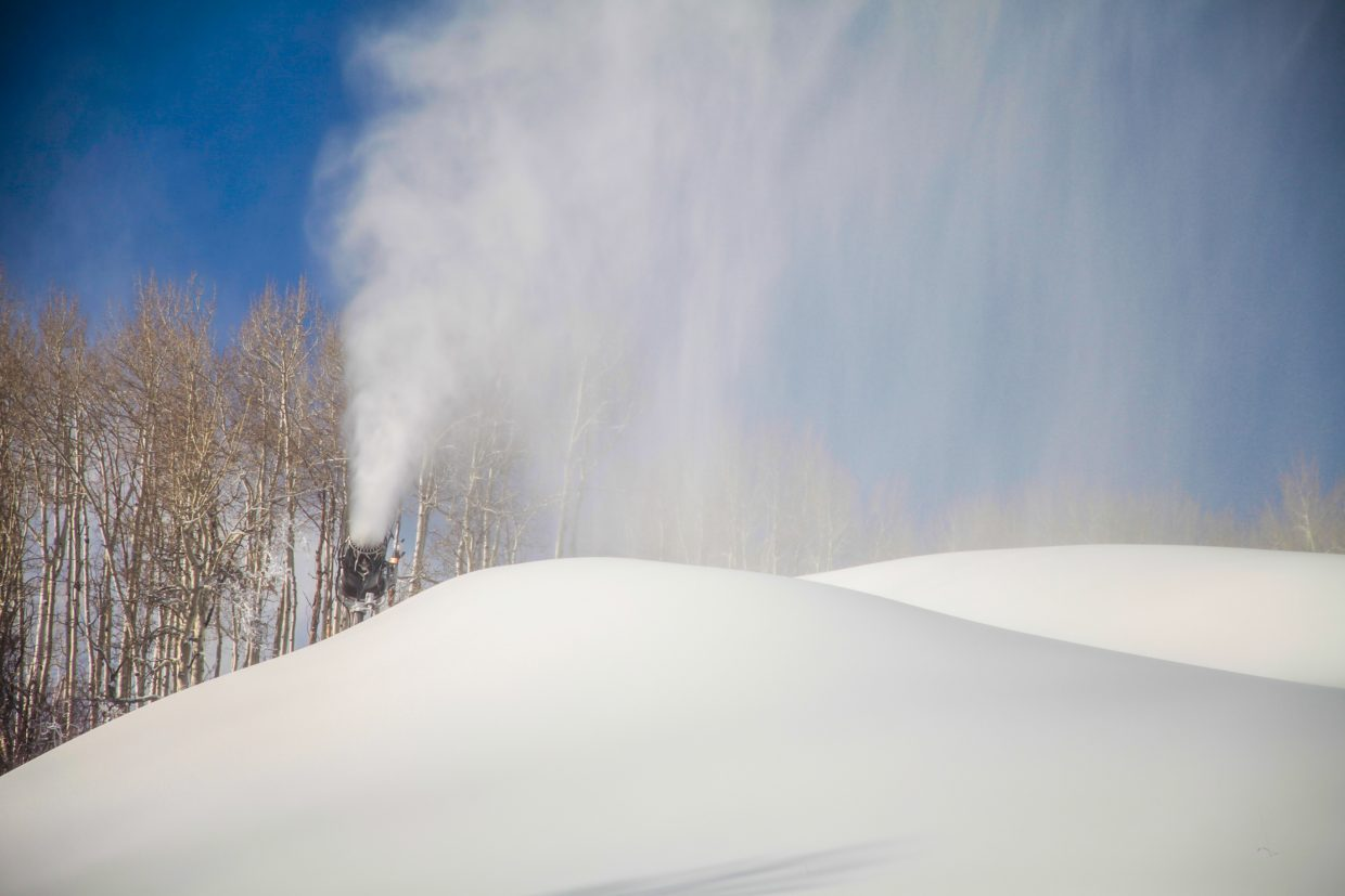 Snow guns fire at Strawberry Park on Wednesday, Dec. 6, at Beaver Creek. Temperatures have remained cold enough to blow snow throughout the day, instead of just night.