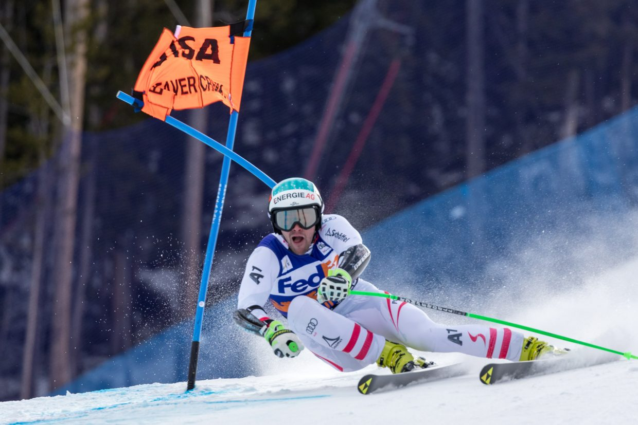 Vincent Kriechmayr, of Austria, blasts through a gate at the Harrier section of the Birds of Prey Super G Friday in Beaver Creek. Kriechmary took gold on the day with a time of 1:09.71.