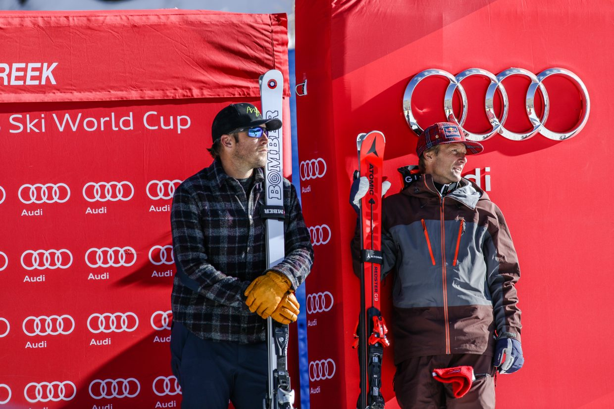 Bode Miller and Darren Rahlves before being presented with an award, as well as each has a section of the downhill course named after them before the Birds of Prey Downhill race on Saturday, Dec. 2, in Beaver Creek.