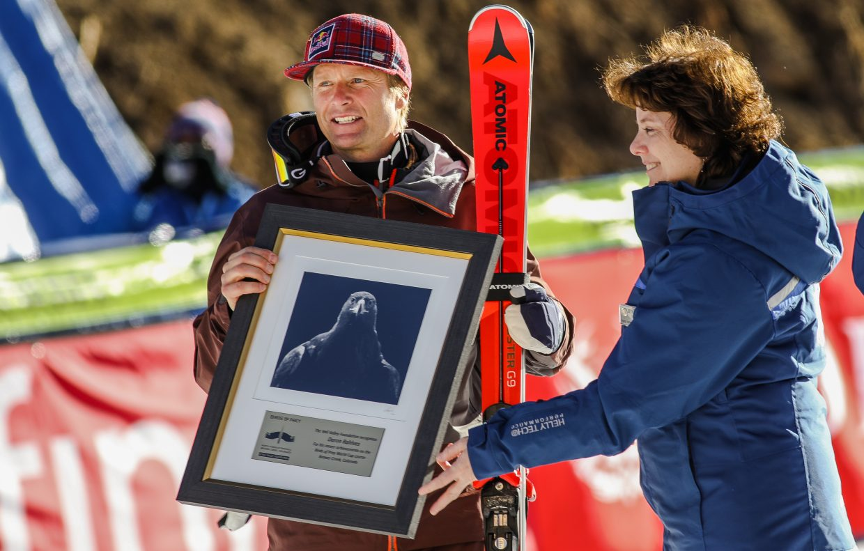 Darren Rahlves with his award before the Birds of Prey Downhill race on Saturday, Dec. 2, in Beaver Creek. The races conclude with the Giant Slalom on Sunday, Dec. 3.