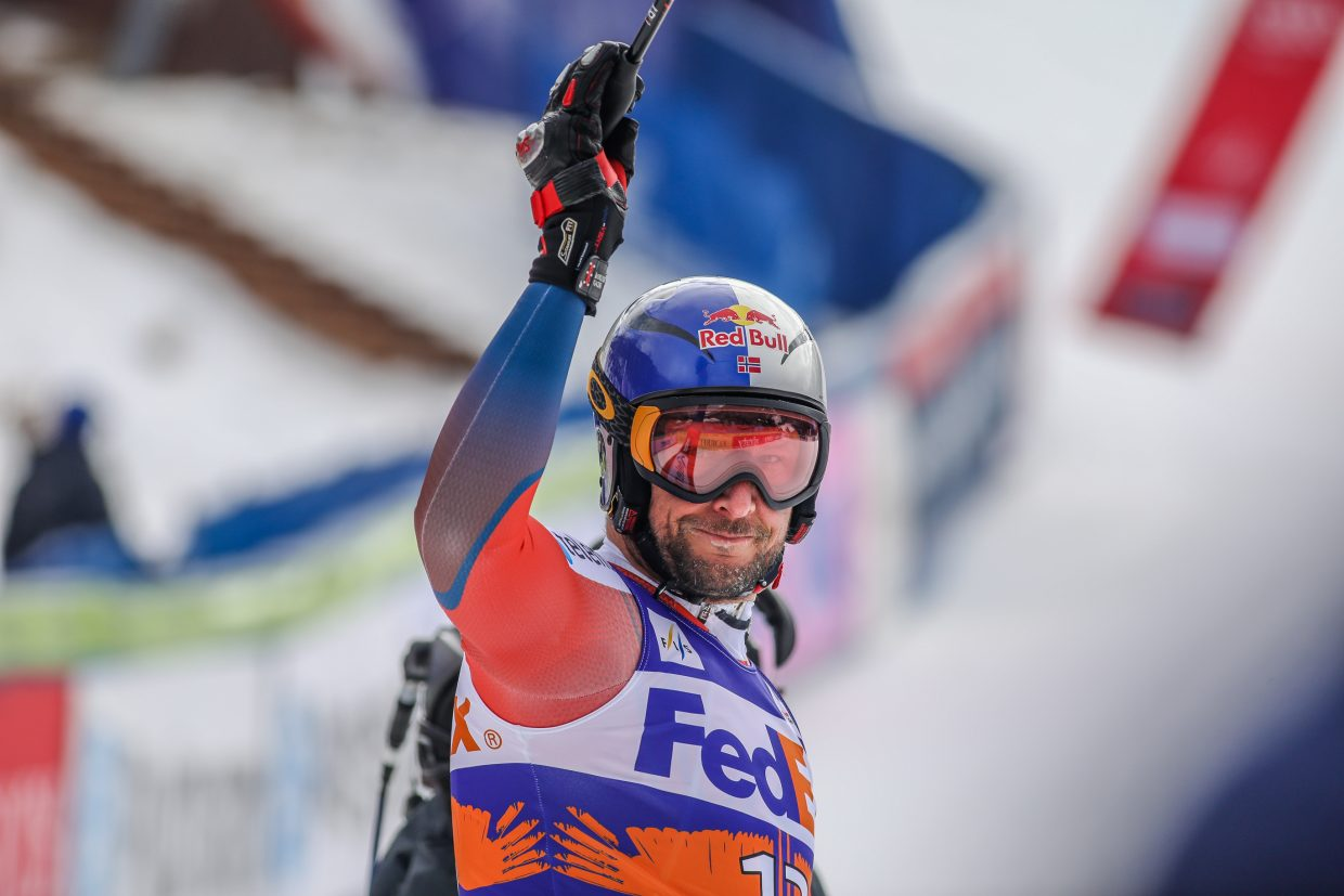 Aksel Lund Svindal of Norway acknowledges the crowd after his Super-G run for Birds of Prey on Friday, Dec. 1, in Beaver Creek.