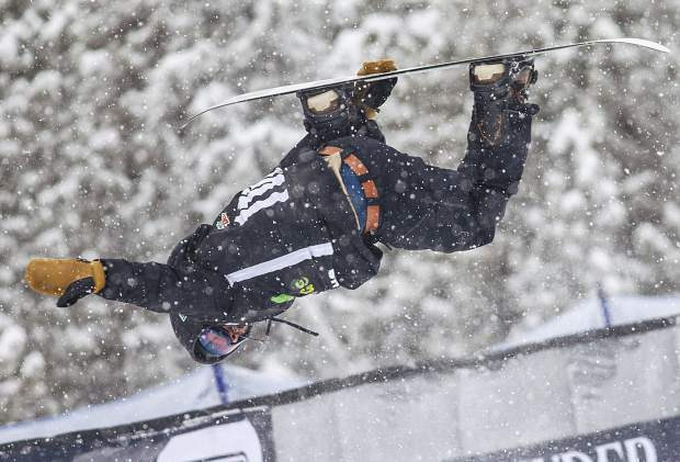 Danny Davis of the United States competes in the snowboard superpipe qualifiers during the Dew Tour event Thursday, Dec. 14, at Breckenridge Ski Resort. Davis qualified for Friday's final with a score of 63.33.