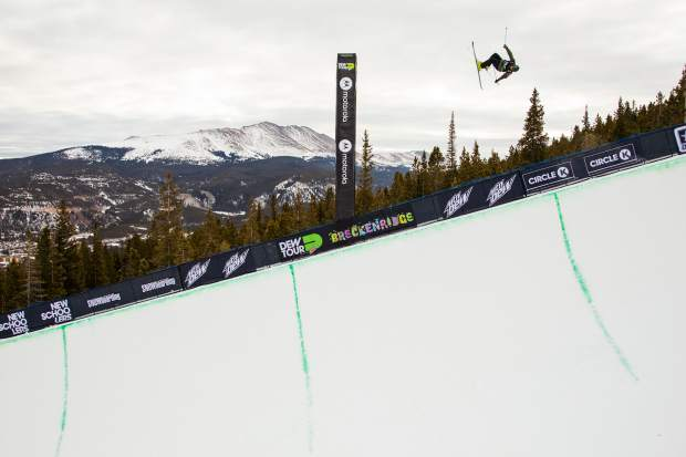 Cassie Sharpe of Canada competes in the superpipe qualifications during the first day of Dew Tour Wednesday, Dec. 13, at Breckenridge Ski Resort.
