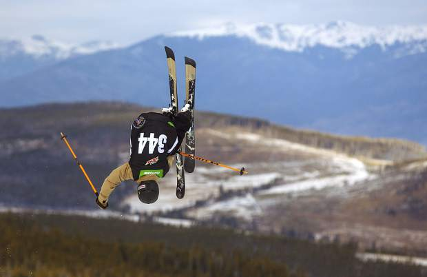 A skier practices ahead of the slopestyle qualifications during the first day of Dew Tour Wednesday, Dec. 13, at Breckenridge Ski Resort.