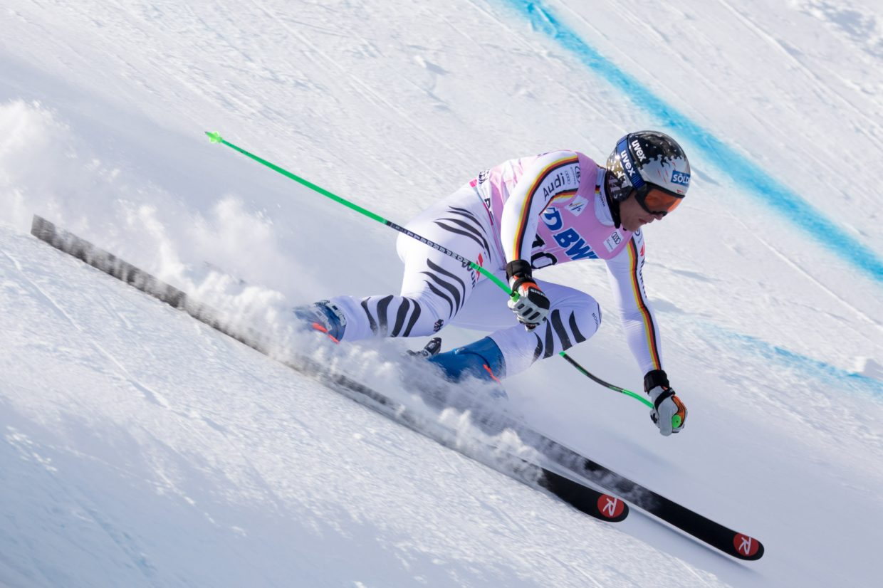 Thomas Dressen, of Germany, comes in hot into the Basketball turn of the Birds of Prey Downhill race Saturday in Beaver Creek. Dressen placed third with a time of 1:40.95.