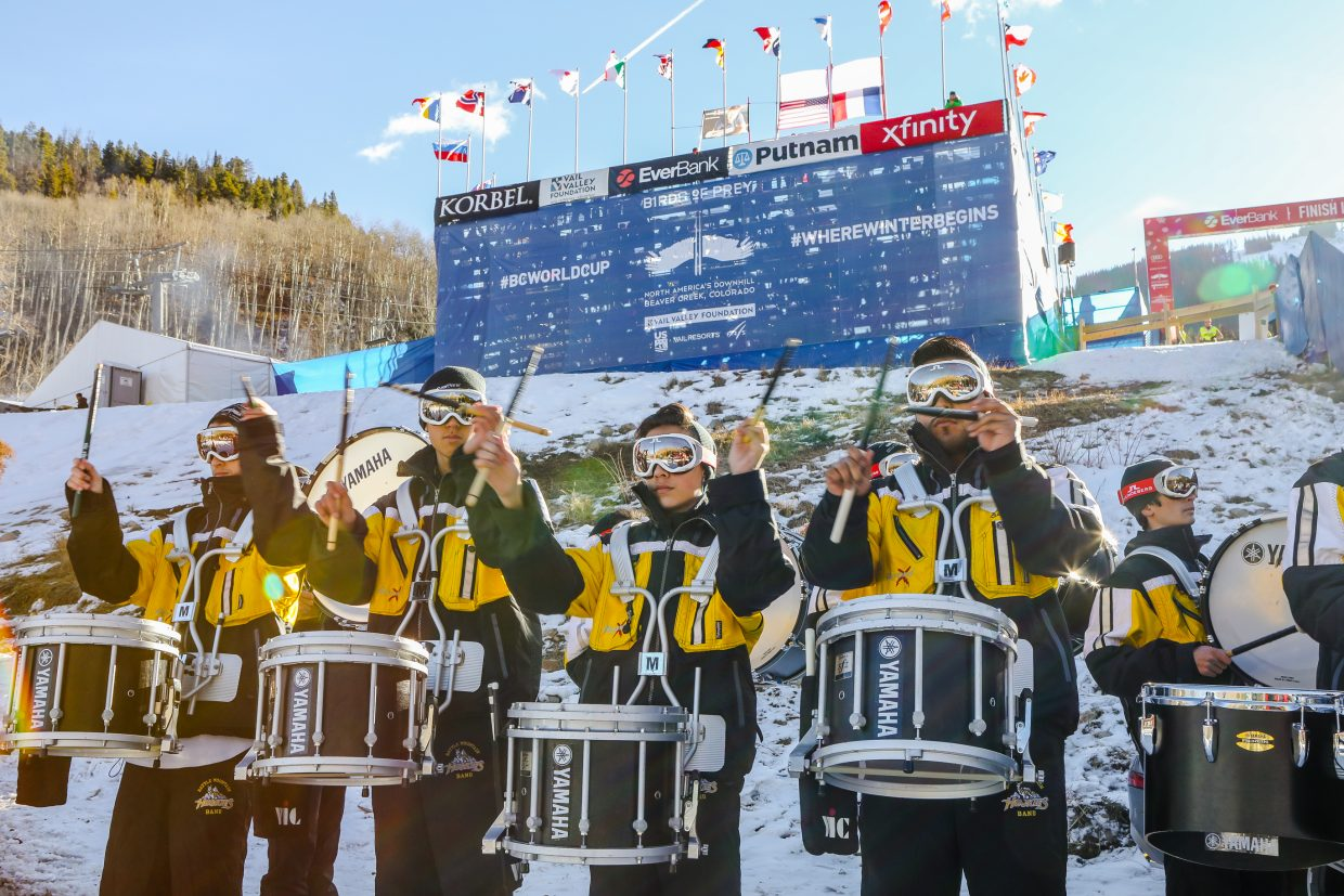 Battle Mountain High School Drumline peforms at the Redtail Stadium before the Downhill race for Birds of Prey World Cup on Saturday, Dec. 2, in Beaver Creek. Warm and sunny weather greeted visitors on race day.
