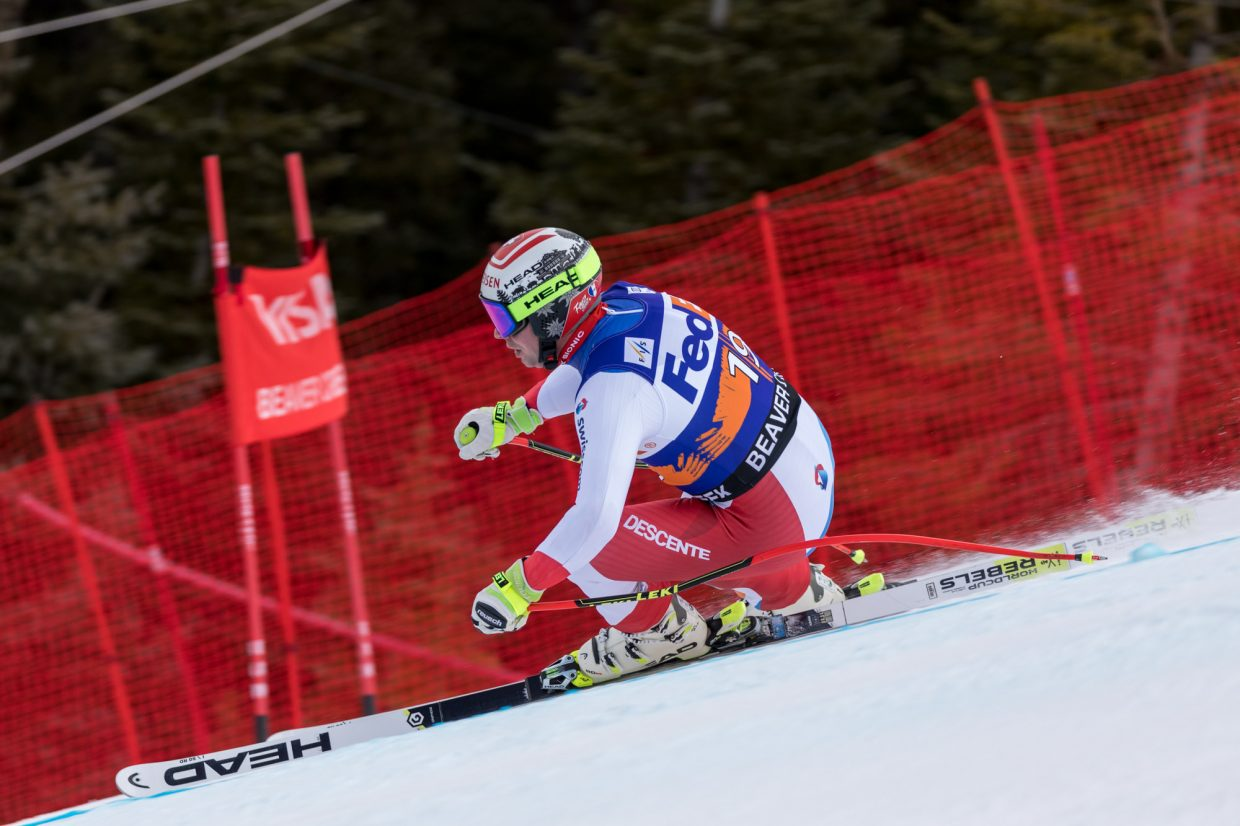 Beat Fuez, of Switzerland, flies past the Harrier section of the Birds of Prey Super G Friday in Beaver Creek.