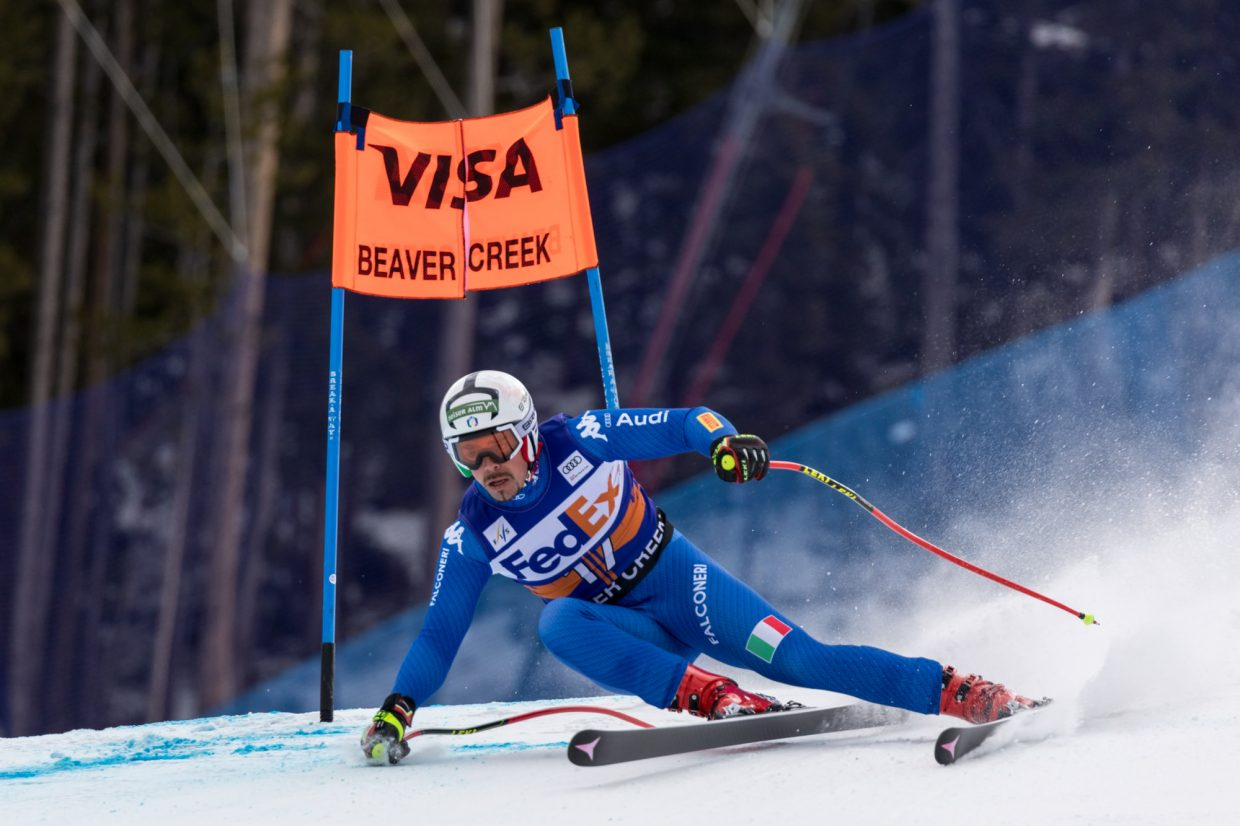 Peter Fill, of Italy, speeds through the Harrier section of the Birds of Prey Super G Friday in Beaver Creek.