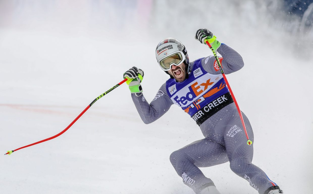 France's Adrien Theaux shows excitement after his Super-G run for Birds of Prey on Friday, Dec. 1, in Beaver Creek.