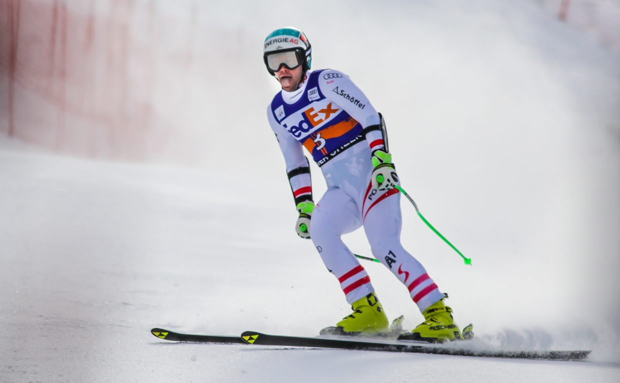 Vincent Kriechmayr of Austria after his winning Super-G run for Birds of Prey on Friday, Dec. 1, in Beaver Creek.