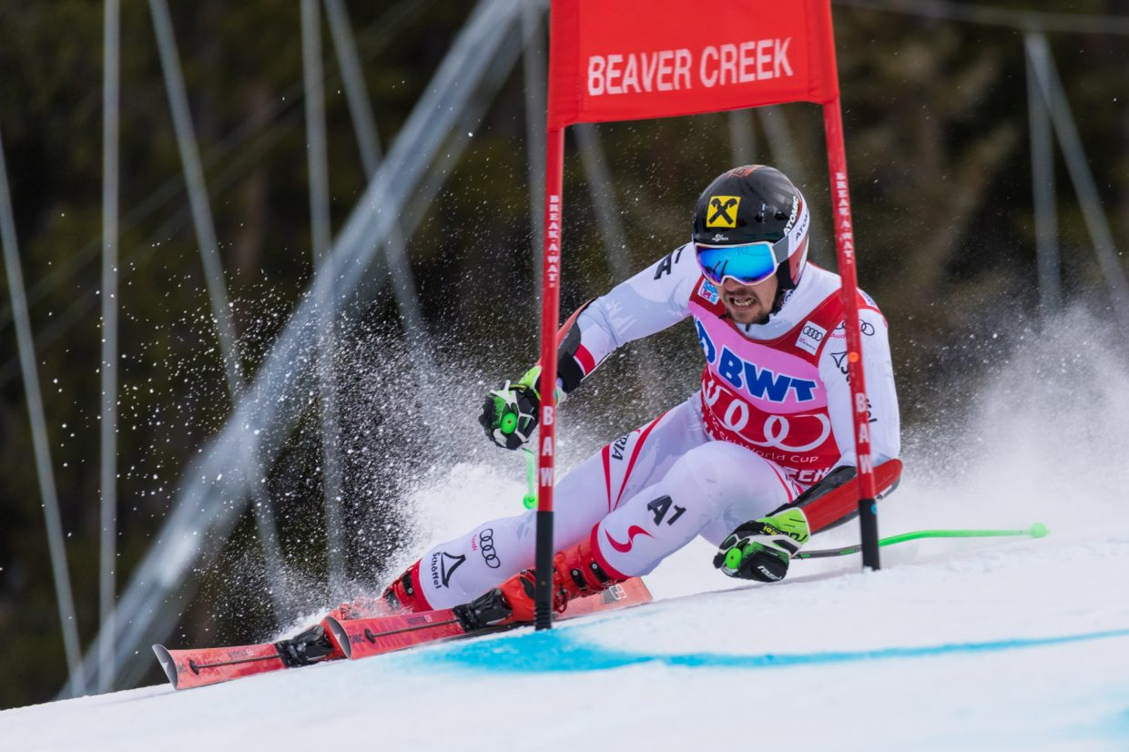 Marcel Hirscher, of Austria, blasts through a gate in the Harrier section of the Birds of Prey World Cup Giant Slalom Sunday in Beaver Creek. Hirscher took home gold with a time of 2:37.30.