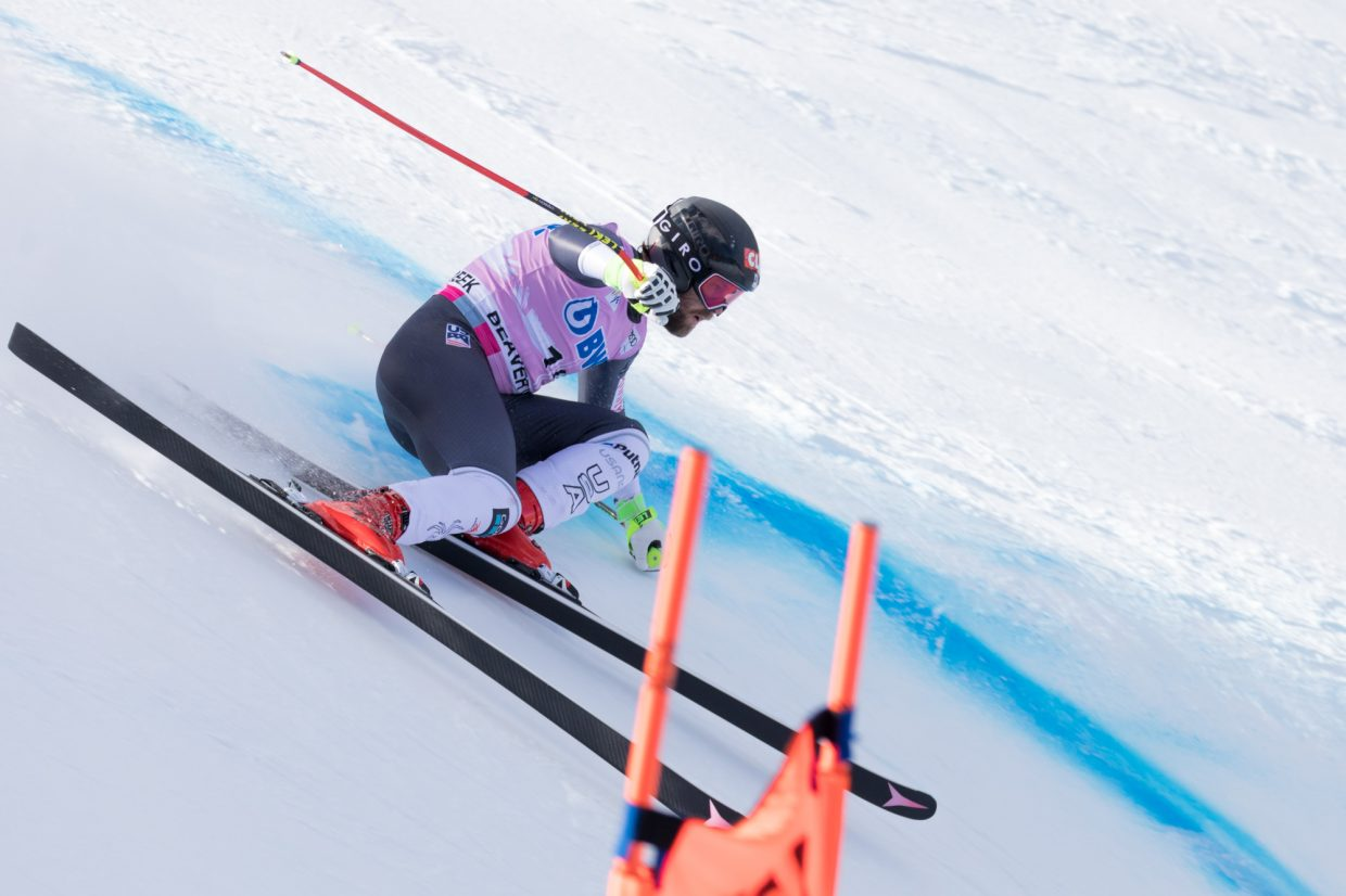 Travis Ganong, of the United States, lines up to enter the Basketball turn during the Birds of Prey World Cup Downhill course Saturday in Beaver Creek.