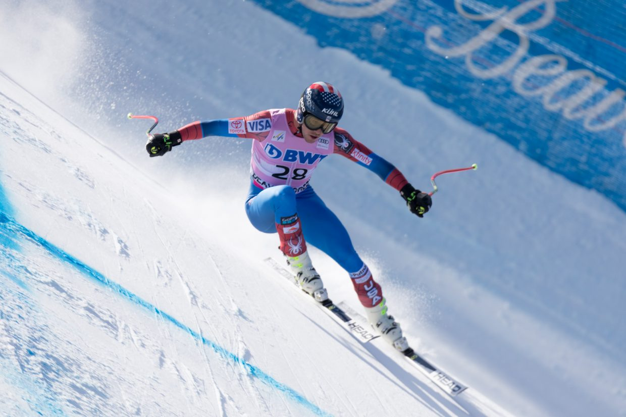Jared Goldberg, of the United States, flies down the Birds of Prey World Cup Downhill course Saturday in Beaver Creek.