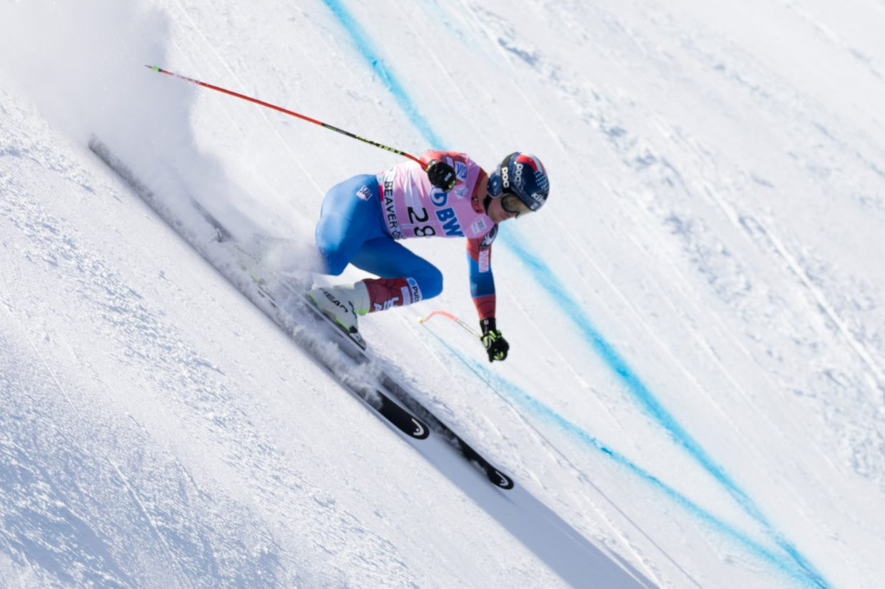 Jared Goldberg, of the United States, lines up to enter the Basketball turn during the Birds of Prey World Cup Downhill course Saturday in Beaver Creek.