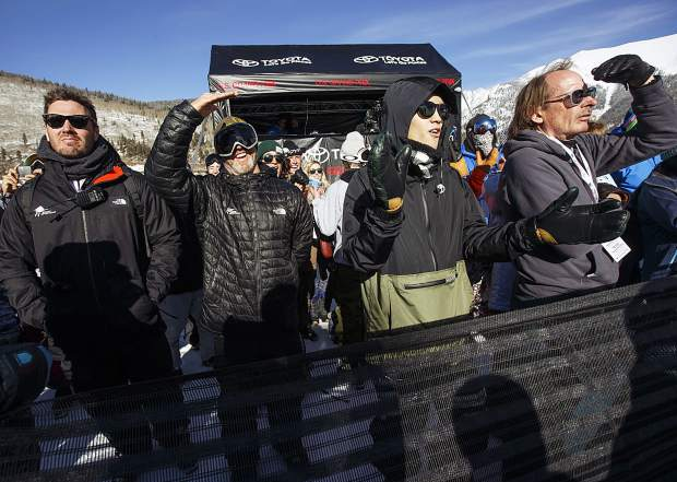 Fans watch the halfpipe finals of the U.S. Grand Prix event Friday, Dec. 8, at Copper Mountain.