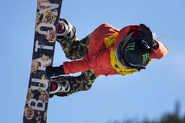 Chloe Kim, of United States, competes in the halfpipe finals during the U.S. Grand Prix World Cup event on Saturday, Dec. 9, at Copper Mountain. Kim took home first with a high score of 93.75.