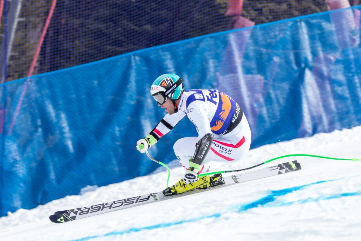 Vincent Kriechmayr, of Austria, eyes his next turn past the Harrier section of the Birds of Prey Super G Friday in Beaver Creek. Kriechmary took gold on the day with a time of 1:09.71.