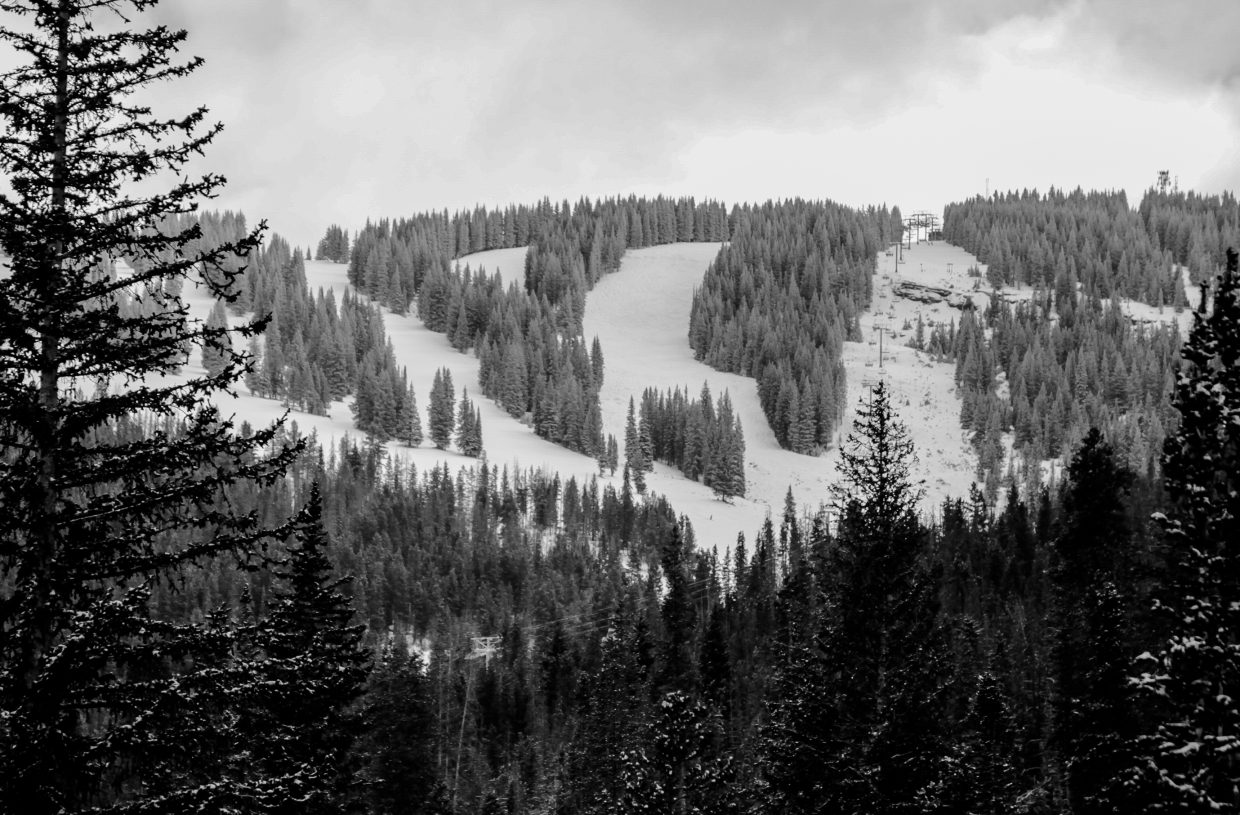 The top of Mountain Top Express on Vail Mountain.