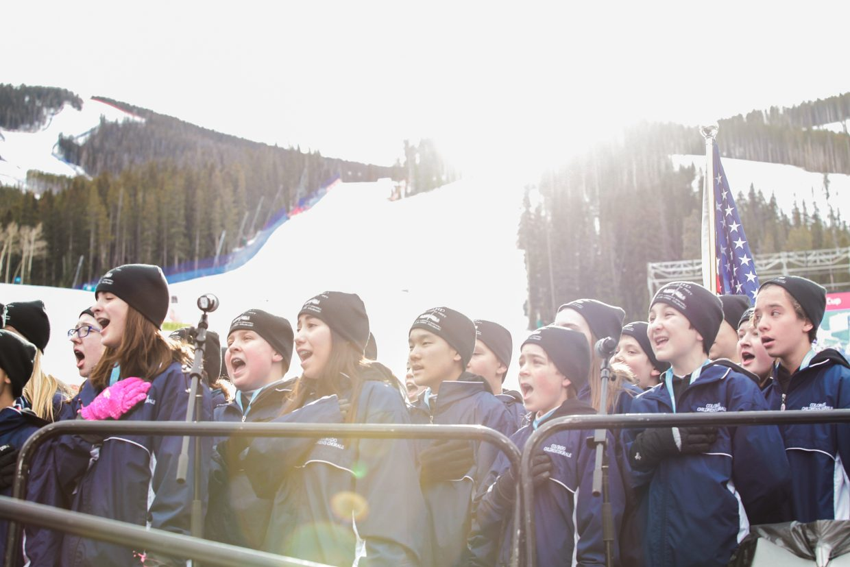 National Anthem before the Super-G race during the Birds of Prey World Cup on Friday, Dec. 1, in Beaver Creek.