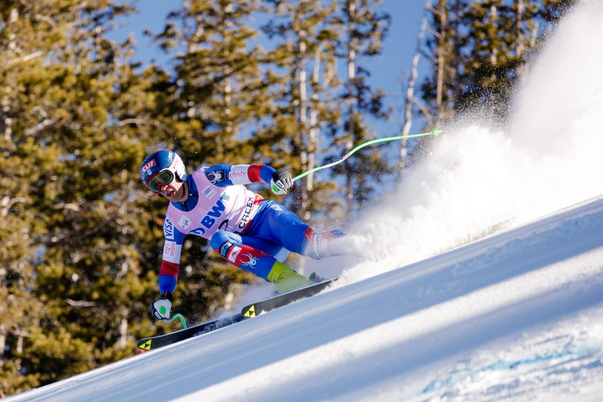 Steven Nyman, USA, charges down the Brink during the second day of downhill training in Beaver Creek on Wednesday.