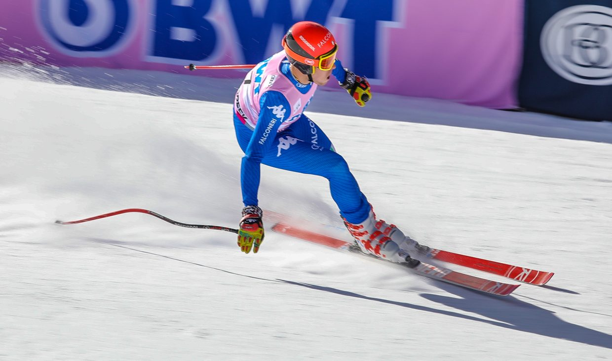 Christof Innerhofer, of Italy, crosses the finish after taking fourth place during the Downhill for Birds of Prey on Saturday, Dec. 2, in Beaver Creek. Innerhofer raced 27th.
