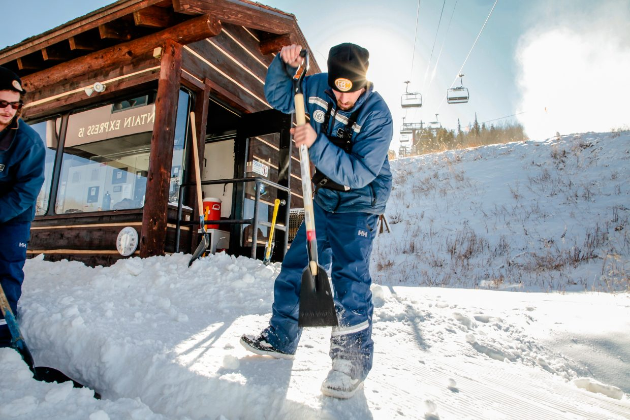 Kenneth Zakzesky chips away snow at Lower Beaver Creek Express on Monday, Dec. 12, in Beaver Creek. Mountain Operations are working to get more terrain open despite a lack of natural snow.