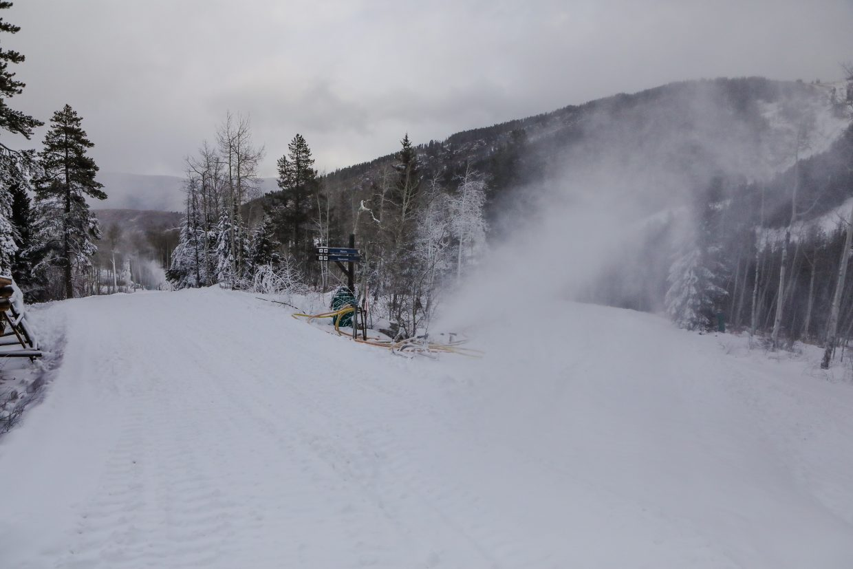 Snow is blown near Beano's Cabin on Wednesday, Dec. 6, in Beaver Creek. Terrian is opening as snowmakers work around the clock to open more acres.