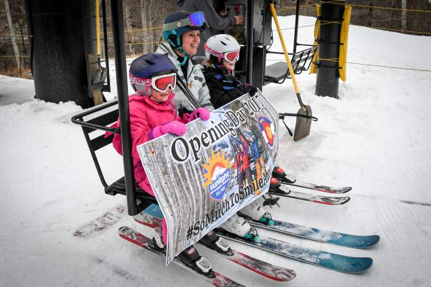 Sedona , 7, Ashly, and Bristol Ditlow, 9, were the honorary first skiers on the lifts during the opening day at Sunlight Mountain on Thursday.