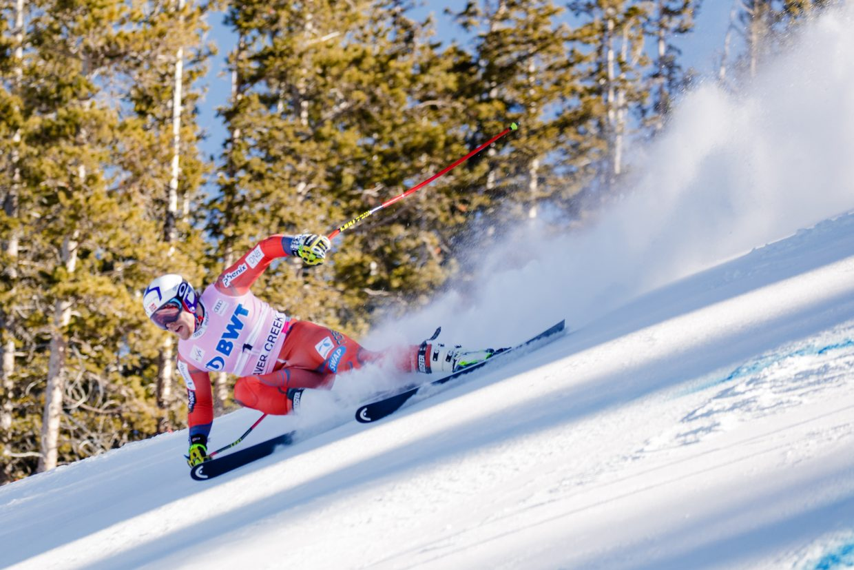 Aleksander Aamodt Kilde, NOR, sizes up his next turn on the Brink during the second day of training in Beaver Creek on Wednesday.