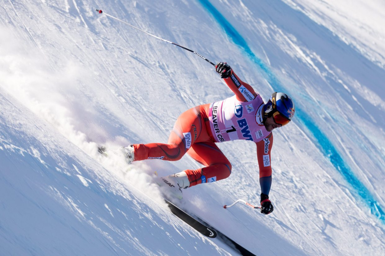 Aksel Lund Svindal charges into the Basketball turn of the Birds of Prey Downhill race Saturday in Beaver Creek. Svindal took home gold with a time of 1:40.46.