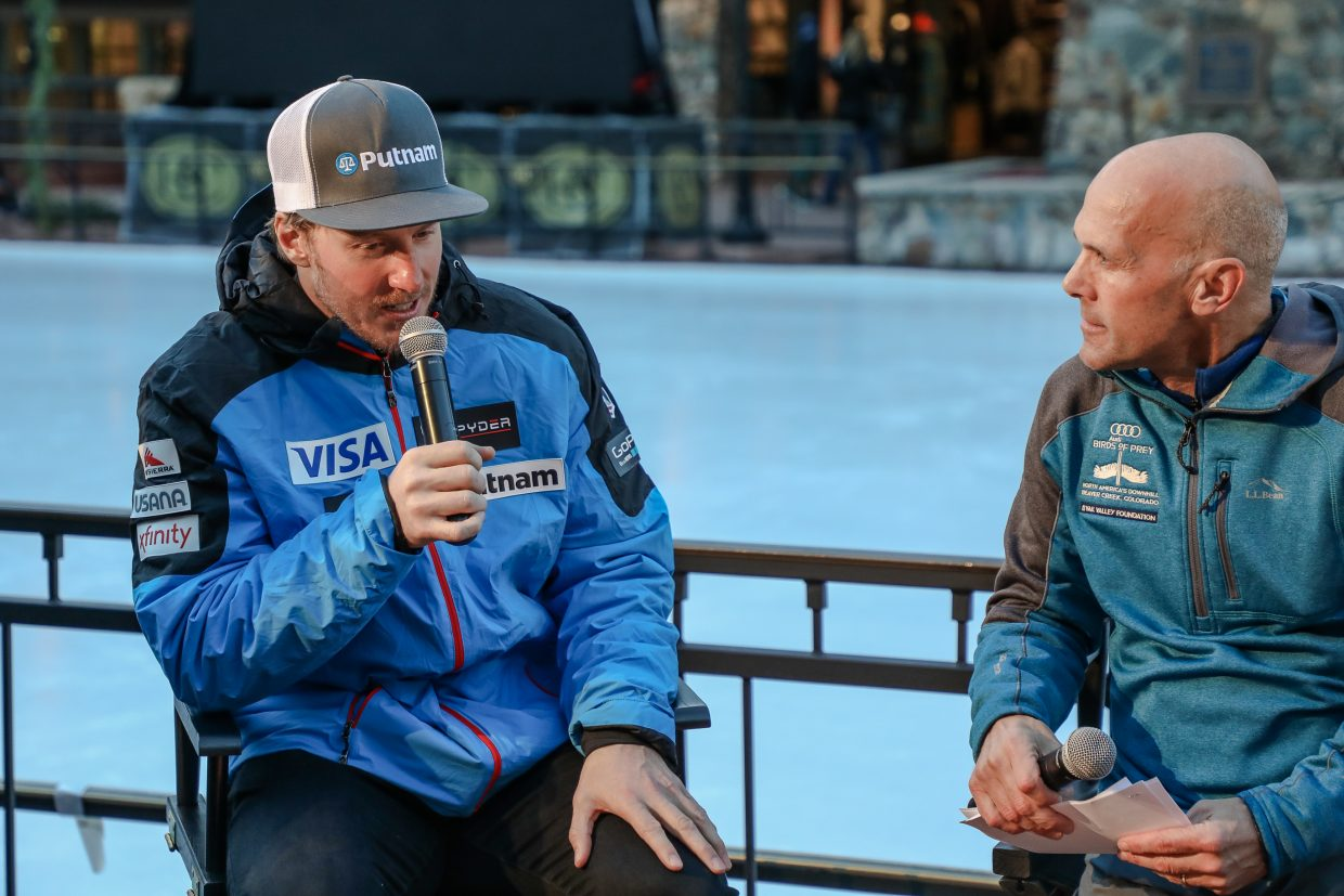 Ted Ligety speaks with Doug Lewis of NBC during an press conference during Birds of Prey Thursday, Nov. 30, in Beaver Creek.