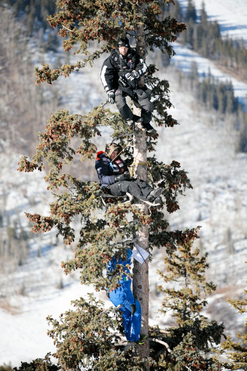 Ski coaches in a tree near the brink for training Thursday, Nov. 30.
