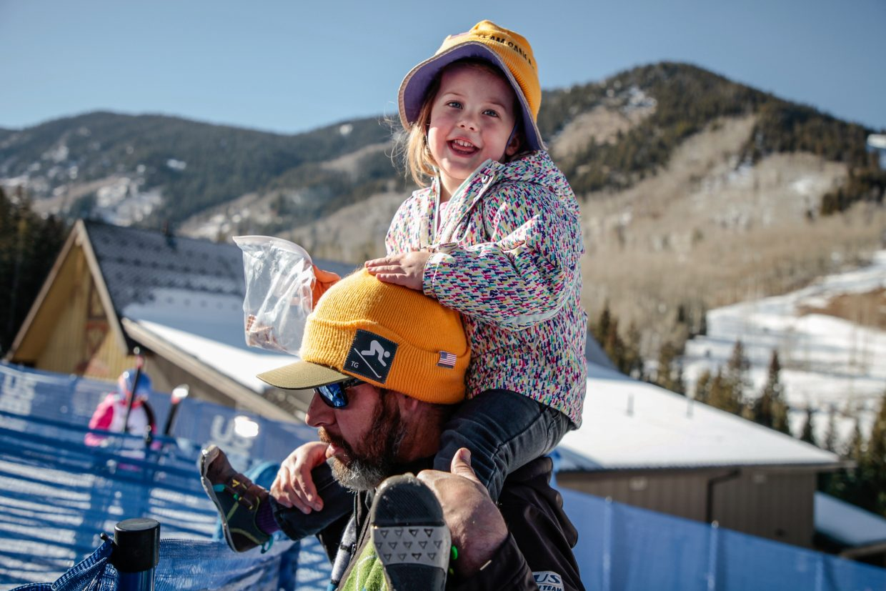 Travis Ganong's family, Jesse Shirley and Audra, 2, while watching the second day of Downhill training Thursday, Nov. 30, in Beaver Creek. Ganong's brother-in-law and neice were out from the Lake Tahoe area watching Ganong race.