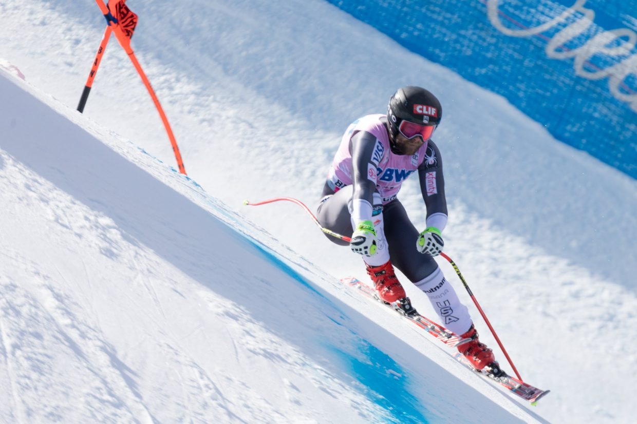 Travis Ganong, of the United States, flies down the Birds of Prey World Cup Downhill course Saturday in Beaver Creek.