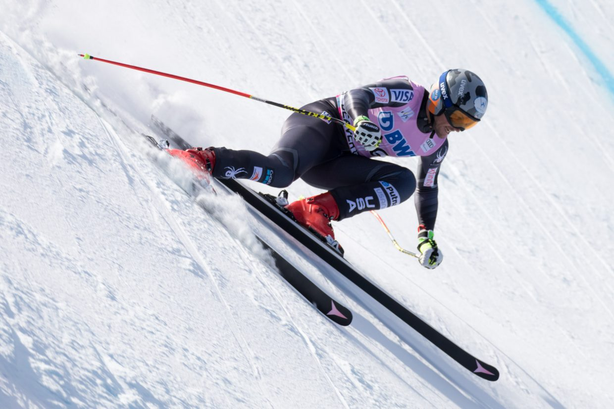Thomas Biesemeyer, of the United States, lines up to enter the Basketball turn during the Birds of Prey World Cup Downhill course Saturday in Beaver Creek.