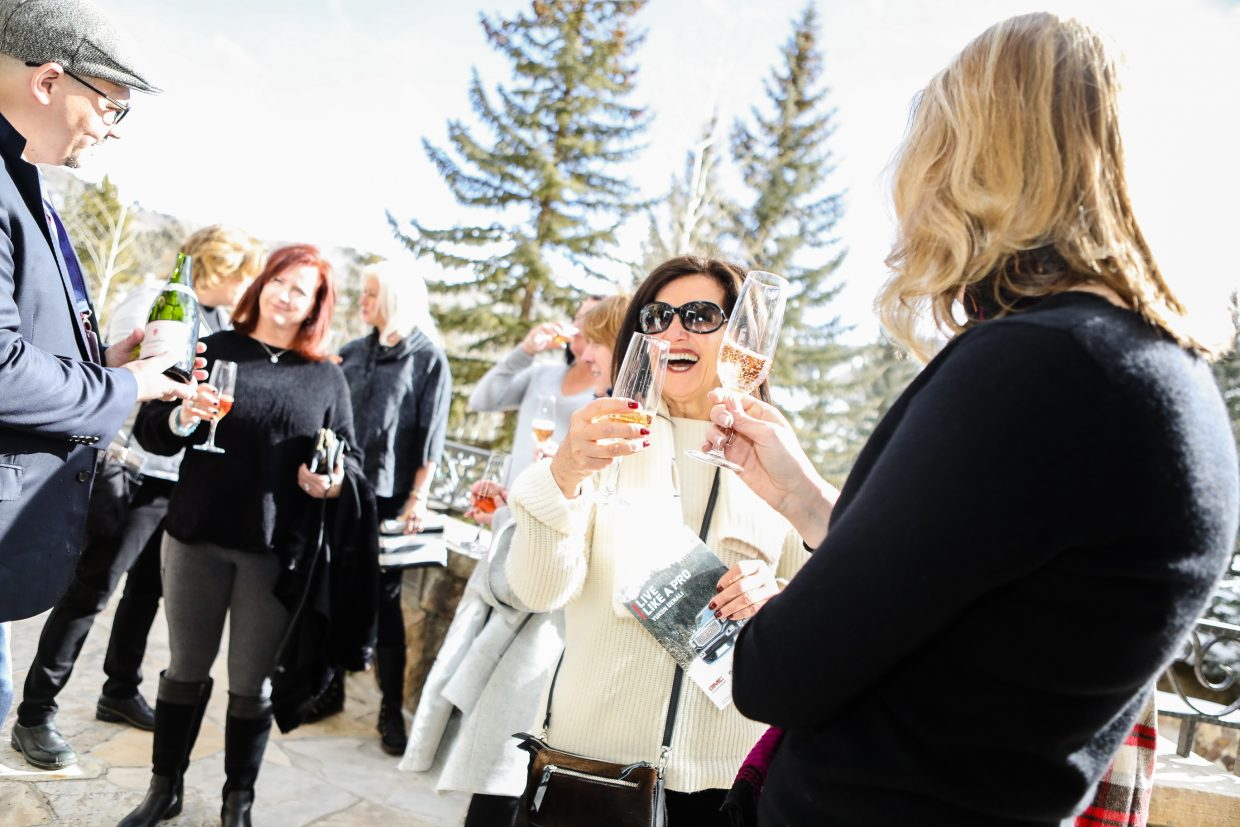 Guests enjoy drinks before lunch by celebrity chef, Alex Guarnaschelli cook for guests during Beaver Creek Culinary Weekend on Saturday, Jan. 20, at Splendido in Beaver Creek. The chef cooked lunch, and answered all questions, while patrons looked on at the Chateau.