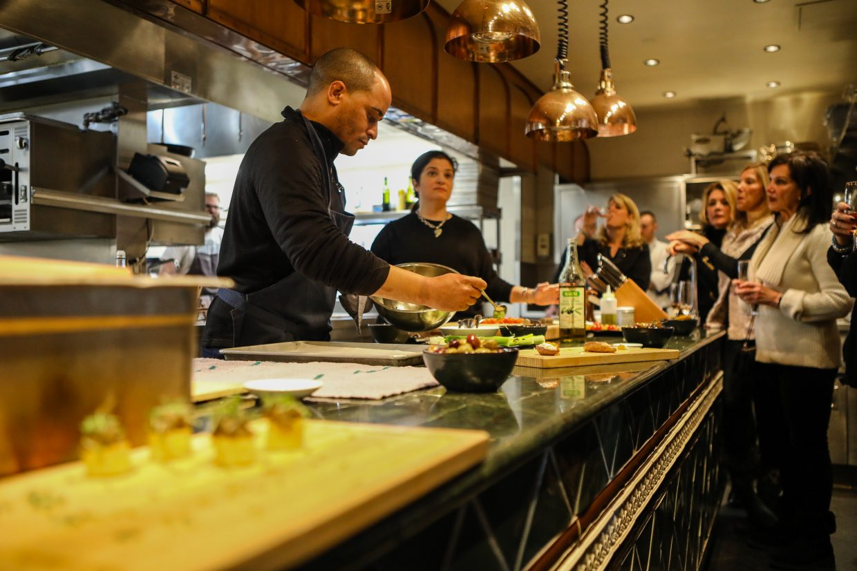 Celebrity chef, Alex Guarnaschelli cooks for guests during Beaver Creek Culinary Weekend on Saturday, Jan. 20, at Splendido in Beaver Creek. The chef cooked lunch, and answered all questions, while patrons looked on at the Chateau.