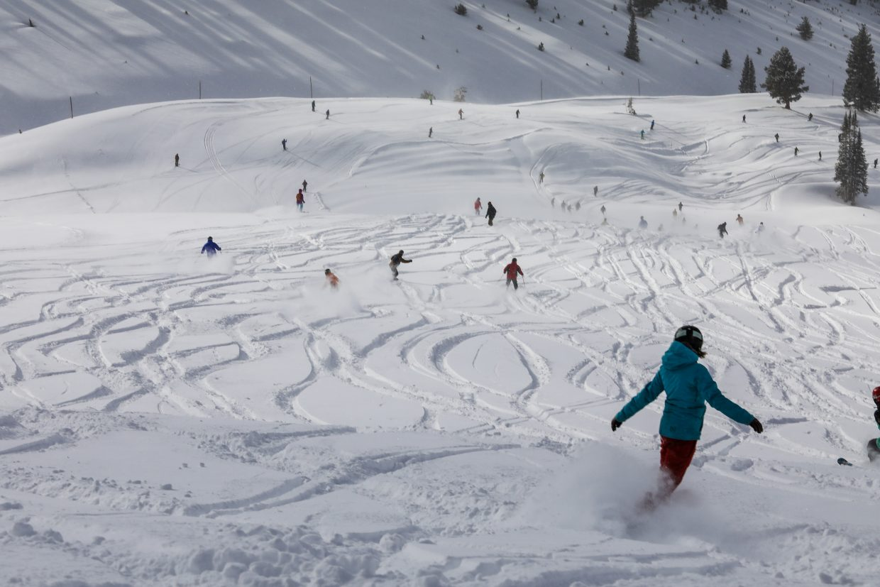 People make fast work of the fresh powder in China Bowl on Saturday, Jan. 13, in Vail. China Bowl opened for the season on Friday, Jan. 13.