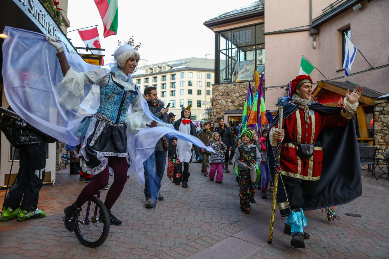 The Kids' Winter Wonder Parade rolls through the plaza for Beaver Creek WInterfest on Friday, Dec. 29, in Beaver Creek. Winterfest lasts through Saturday, Jan. 6, with events daily for kids.