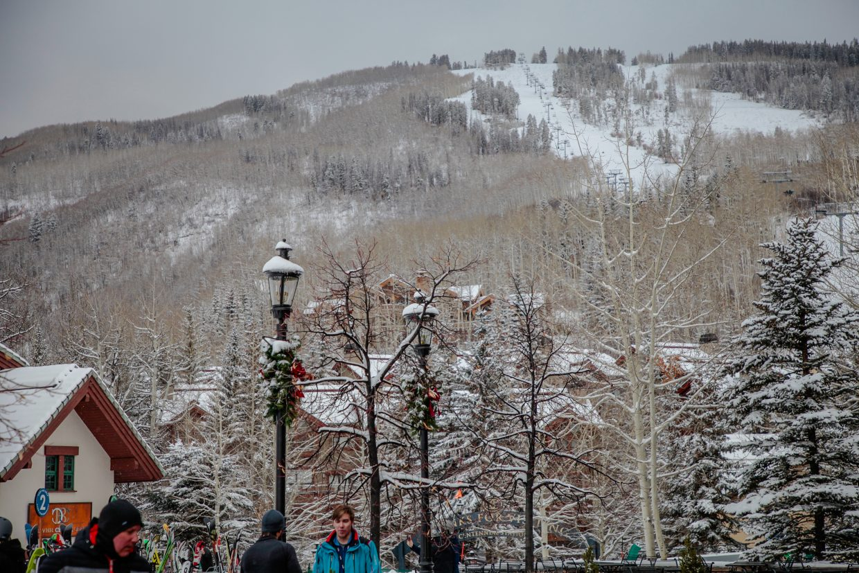 New snow covers Strawberry Park on Christmas Day on Monday, Dec. 25, in Beaver Creek. Vail and Beaver Creek have reported new snow in the last few days.