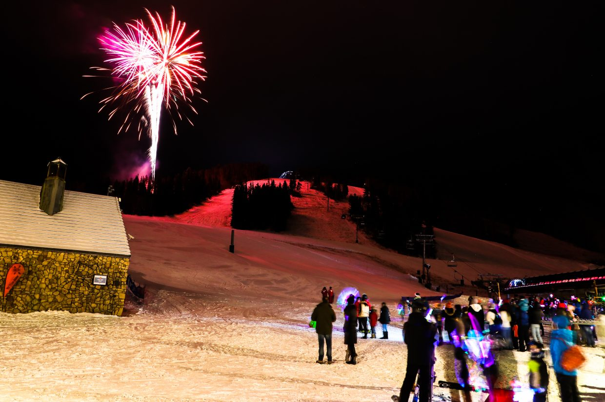 People gather to watch the Thursday Night Lights on Thursday, Dec. 21, in Beaver Creek. The ski-down and fireworks show takes place each Thursday, until March 29, execpt Thurdsay, Dec. 28, when it will be combined with the New Years program.
