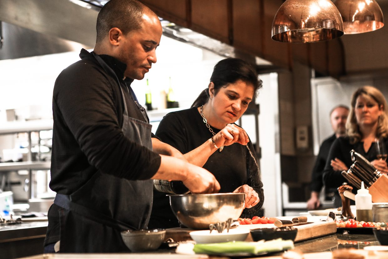 Celebrity chef, Alex Guarnaschelli andn chef William Davis cook for patrons during Beaver Creek Culinary Weekend on Saturday, Jan. 20, at Splendido in Beaver Creek. The chefs cooked lunch, and answered all questions, while patrons looked on at the Chateau.